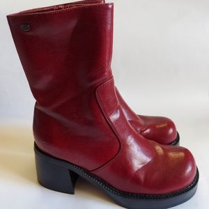 90s Vintage Skechers Red Leather Chunky Heel Boots